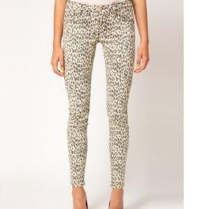 Sass & bide white gray cheetah print skinny jeans